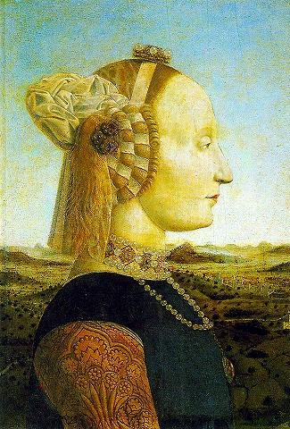 s-ウルピーノ公夫妻の肖像 フランチェスカ 1465~1472年 妻.jpg